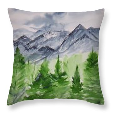 Ruidoso Nm Southwestern Mountain Landscape Watercolor Painting Poster Print Throw Pillow by Derek Mccrea