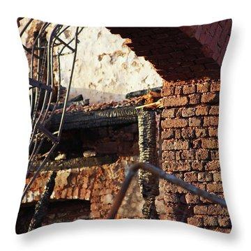 Ruin After Big Fire  Throw Pillow