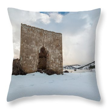 Ruin On The Snow Throw Pillow