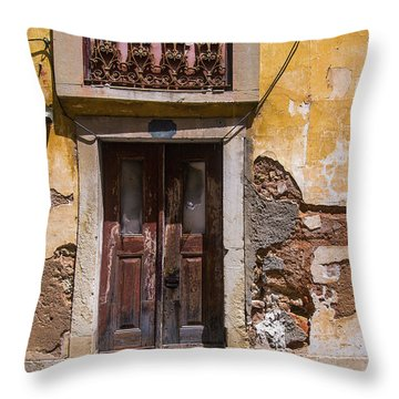 Ruined Yellow House Throw Pillow