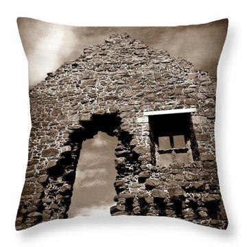 Throw Pillow featuring the photograph Ruins At Dunluce by Patricia Strand