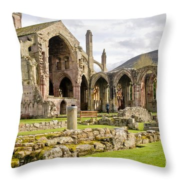 Ruins. Melrose Abbey. Throw Pillow