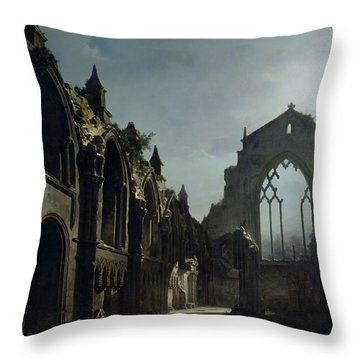 Ruins Of Holyrood Chapel Throw Pillow by Louis Jacques Mande Daguerre