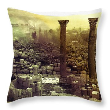 Throw Pillow featuring the photograph Ruins Of Jurash by Robert G Kernodle