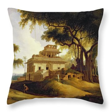 Ruins Of The Naurattan Throw Pillow by Thomas Daniell
