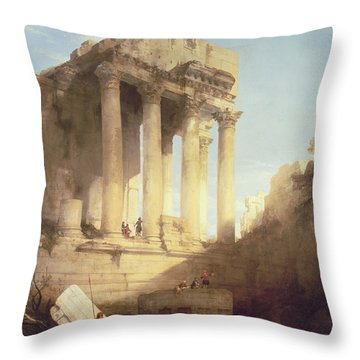 Ruins Of The Temple Of Bacchus Throw Pillow by David Roberts