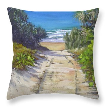 Throw Pillow featuring the painting Rules Beach Queensland Australia by Chris Hobel