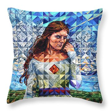 Throw Pillow featuring the painting Rules Of Refraction by Greg Skrtic