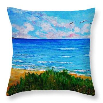 Rullsands Beach / Sweden-gaevle Throw Pillow