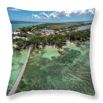 Throw Pillow featuring the photograph Rum Point Beach Panoramic by Adam Romanowicz