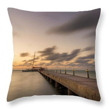 Throw Pillow featuring the photograph Rum Point Grand Cayman At Dusk by Adam Romanowicz