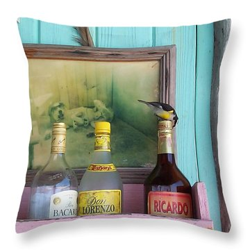 Throw Pillow featuring the photograph Rum Shack Bananaquit by Mary-Lee Sanders