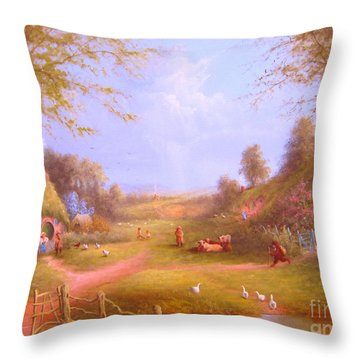 Run Bilbo Late For An Appointment Throw Pillow by Joe  Gilronan