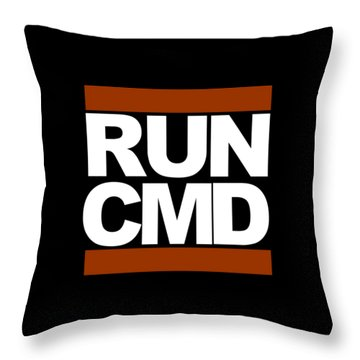 Run Cmd Throw Pillow by Darryl Dalton