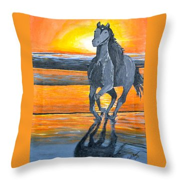 Run Free Throw Pillow by Donna Blossom