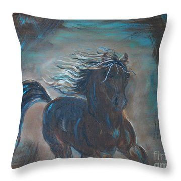 Throw Pillow featuring the painting Run Horse Run by Leslie Allen
