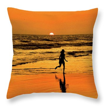 Throw Pillow featuring the photograph Run To The Sun by Howard Bagley