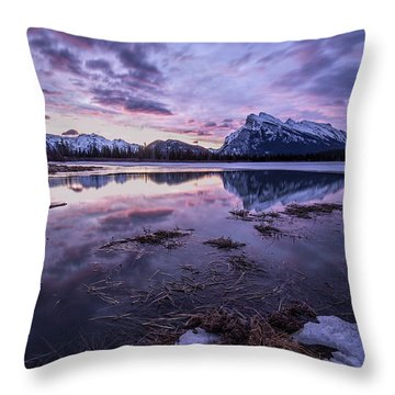 Rundle Mountain Skies Throw Pillow