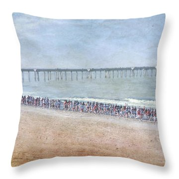 Throw Pillow featuring the photograph Runners On The Beach Panorama by David Zanzinger