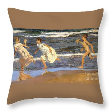 Throw Pillow featuring the painting Running Along The Beach by Joaquen Sorolla y Bastida