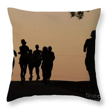 Running Throw Pillow by Angela Wright
