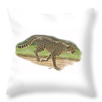 Running Cheetah Throw Pillow