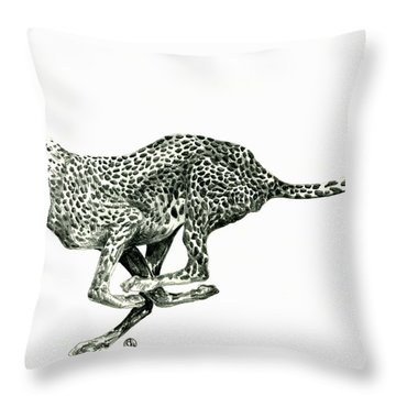 Running Cheetah Throw Pillow by Shirley Heyn