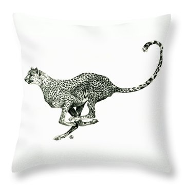 Running Cheetah Throw Pillow