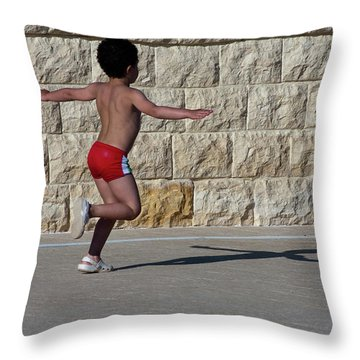 Running Child Throw Pillow by Bruno Spagnolo