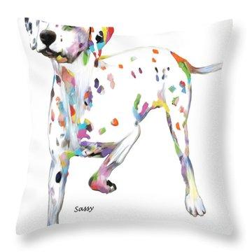 Running Dalmatian Throw Pillow