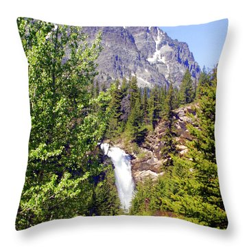 Running Eagle Falls Glacier National Park Throw Pillow by Marty Koch