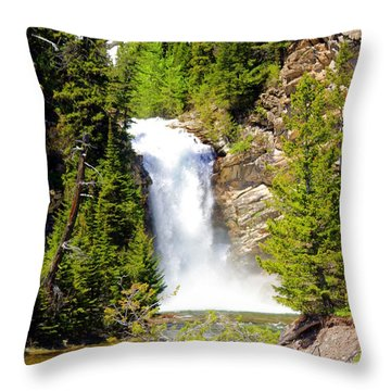 Running Eagle Falls Throw Pillow by Marty Koch