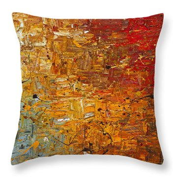 Throw Pillow featuring the painting Running Free - Abstract Art by Carmen Guedez