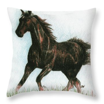 Running Free Throw Pillow by Arline Wagner