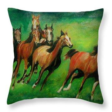 Running Free Throw Pillow by Khalid Saeed