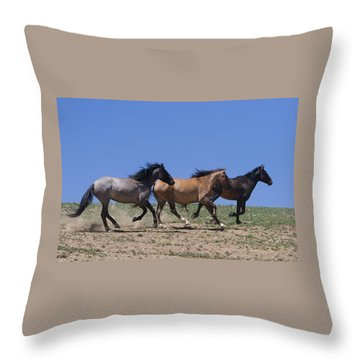 Running Free- Wild Horses Throw Pillow