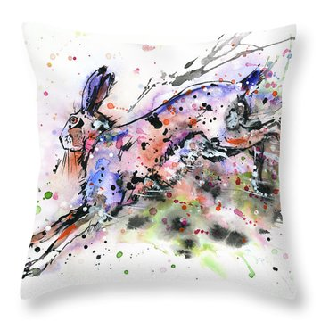 Running Hare Throw Pillow by Zaira Dzhaubaeva