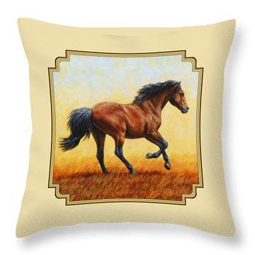 Running Horse - Evening Fire Throw Pillow