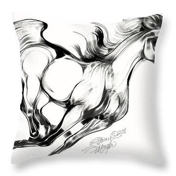 Night Running Horse Throw Pillow