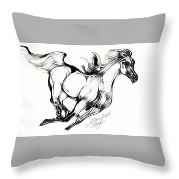 Night Running Horse Throw Pillow