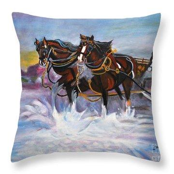 Running Horses- Beach Gallop Throw Pillow