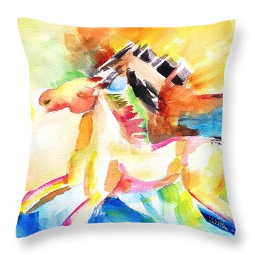 Running Horses Color Throw Pillow