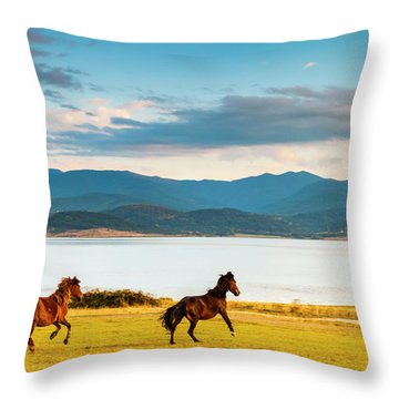 Running Horses Throw Pillow