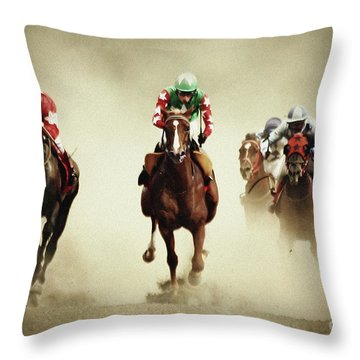 Running Horses In Dust Throw Pillow