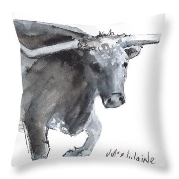 Running Texas Longhorn Watercolor Painting By Kmcelwaine Throw Pillow
