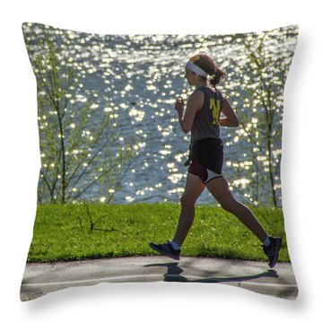Running On Air Throw Pillow by Garry McMichael