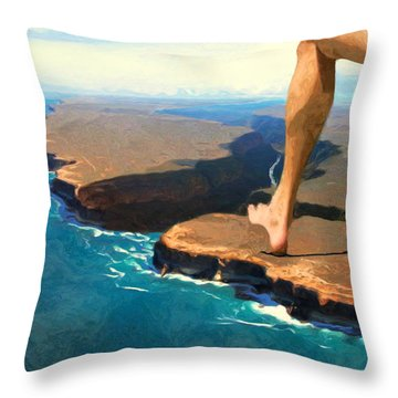 Running On The Edge Throw Pillow by Jack Zulli