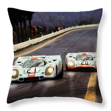 Running One Two Throw Pillow by Peter Chilelli