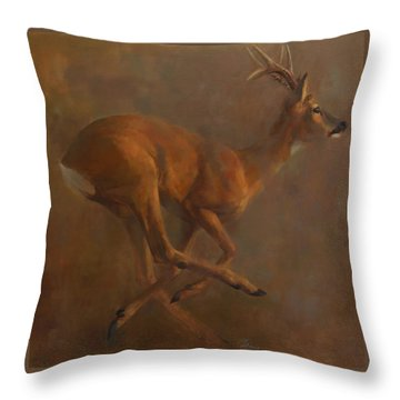 Running Roe Throw Pillow