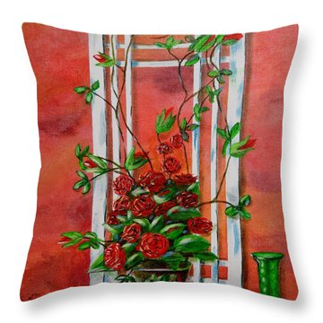 Running Roses Throw Pillow by Melvin Turner